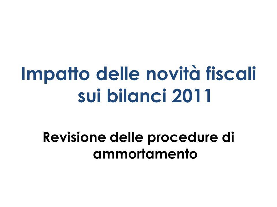 Impatto delle novità fiscali sui bilanci 2011 Revisione delle procedure di ammortamento