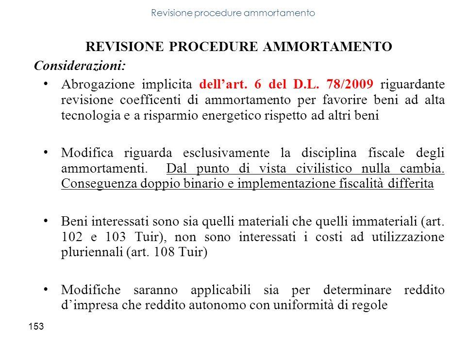153 REVISIONE PROCEDURE AMMORTAMENTO Considerazioni: Abrogazione implicita dellart. 6 del D.L. 78/2009 riguardante revisione coefficenti di ammortamen