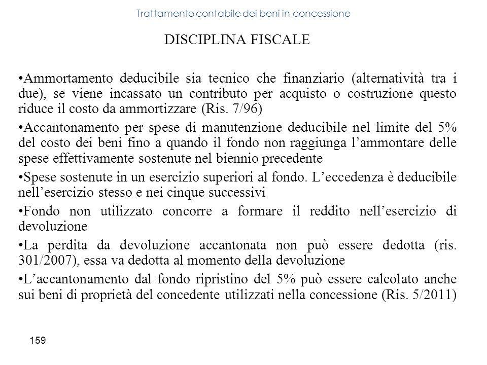 159 DISCIPLINA FISCALE Ammortamento deducibile sia tecnico che finanziario (alternatività tra i due), se viene incassato un contributo per acquisto o