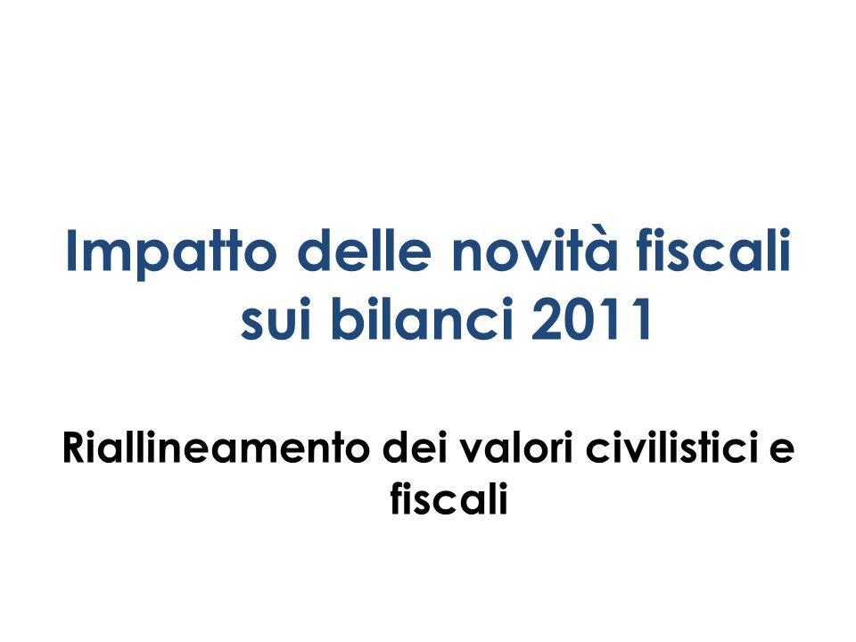 Impatto delle novità fiscali sui bilanci 2011 Riallineamento dei valori civilistici e fiscali