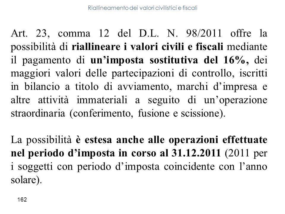 162 Riallineamento dei valori civilistici e fiscali Art. 23, comma 12 del D.L. N. 98/2011 offre la possibilità di riallineare i valori civili e fiscal