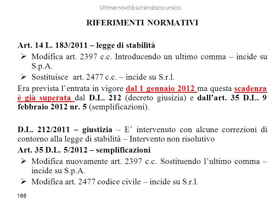 166 RIFERIMENTI NORMATIVI Art. 14 L. 183/2011 – legge di stabilità Modifica art. 2397 c.c. Introducendo un ultimo comma – incide su S.p.A. Sostituisce