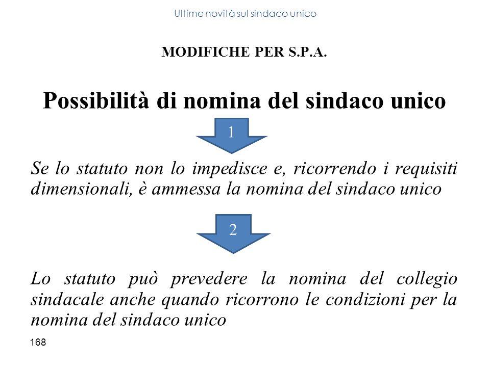 168 MODIFICHE PER S.P.A. Possibilità di nomina del sindaco unico Se lo statuto non lo impedisce e, ricorrendo i requisiti dimensionali, è ammessa la n