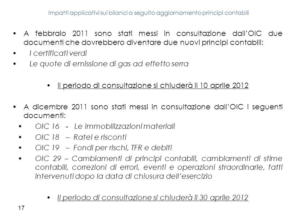 17 A febbraio 2011 sono stati messi in consultazione dallOIC due documenti che dovrebbero diventare due nuovi principi contabili: I certificati verdi