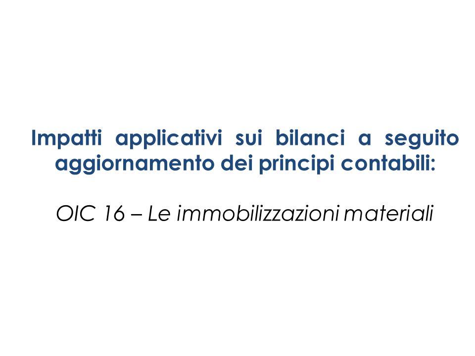 Impatti applicativi sui bilanci a seguito aggiornamento dei principi contabili: OIC 16 – Le immobilizzazioni materiali