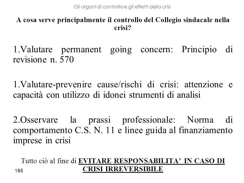 185 A cosa serve principalmente il controllo del Collegio sindacale nella crisi? 1.Valutare permanent going concern: Principio di revisione n. 570 1.V