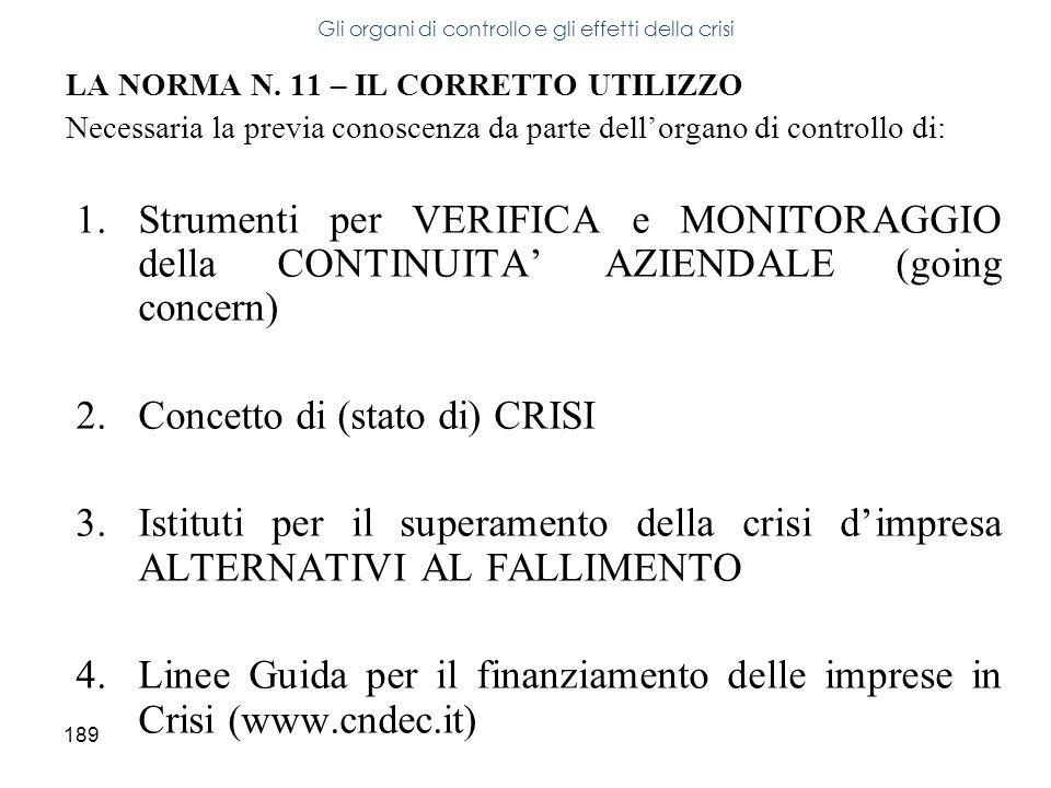 189 LA NORMA N. 11 – IL CORRETTO UTILIZZO Necessaria la previa conoscenza da parte dellorgano di controllo di: 1.Strumenti per VERIFICA e MONITORAGGIO