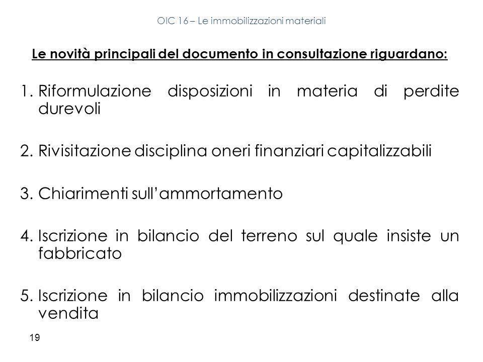19 Le novità principali del documento in consultazione riguardano: 1.Riformulazione disposizioni in materia di perdite durevoli 2.Rivisitazione discip