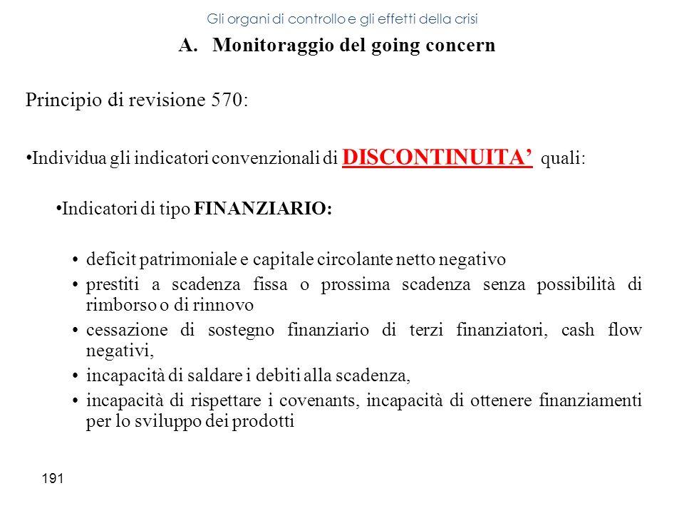 191 A.Monitoraggio del going concern Principio di revisione 570: Individua gli indicatori convenzionali di DISCONTINUITA quali: Indicatori di tipo FIN