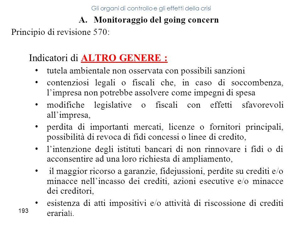 193 A.Monitoraggio del going concern Principio di revisione 570: Indicatori di ALTRO GENERE : tutela ambientale non osservata con possibili sanzioni c
