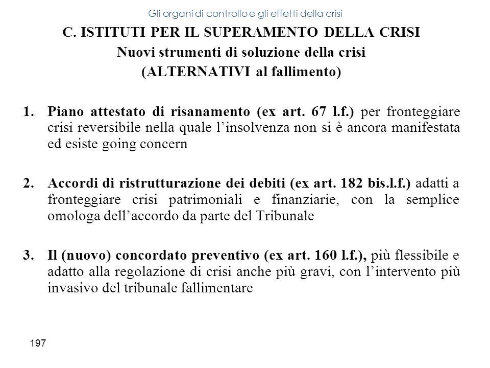 197 C. ISTITUTI PER IL SUPERAMENTO DELLA CRISI Nuovi strumenti di soluzione della crisi (ALTERNATIVI al fallimento) 1.Piano attestato di risanamento (