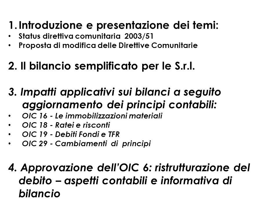 1.Introduzione e presentazione dei temi: Status direttiva comunitaria 2003/51 Proposta di modifica delle Direttive Comunitarie 2. Il bilancio semplifi
