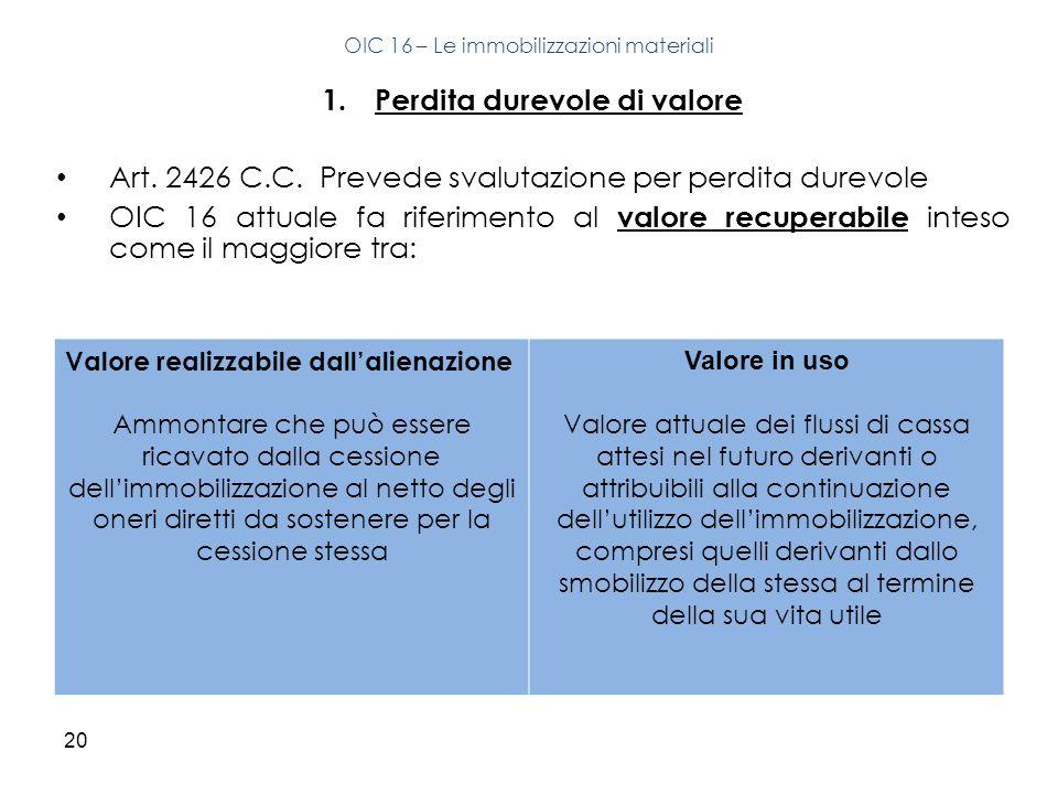 20 1.Perdita durevole di valore Art. 2426 C.C. Prevede svalutazione per perdita durevole OIC 16 attuale fa riferimento al valore recuperabile inteso c