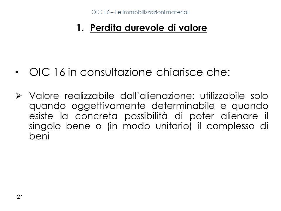 21 1.Perdita durevole di valore OIC 16 in consultazione chiarisce che: Valore realizzabile dallalienazione: utilizzabile solo quando oggettivamente de
