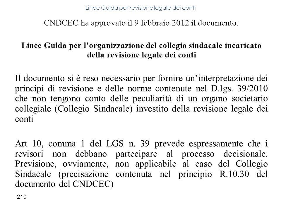 210 CNDCEC ha approvato il 9 febbraio 2012 il documento: Linee Guida per lorganizzazione del collegio sindacale incaricato della revisione legale dei