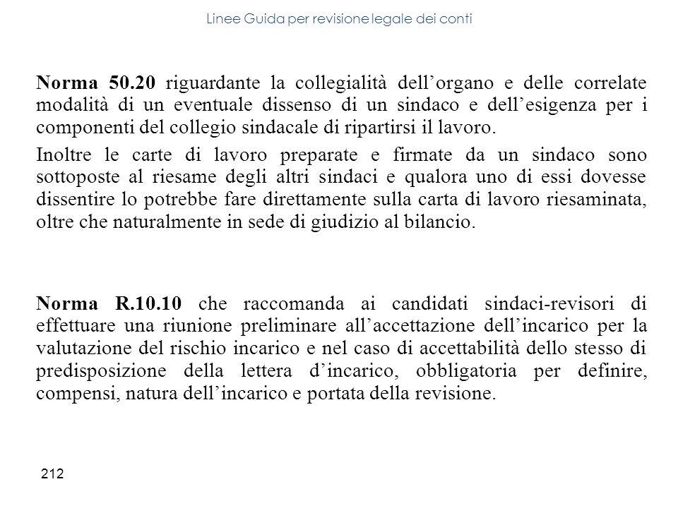212 Norma 50.20 riguardante la collegialità dellorgano e delle correlate modalità di un eventuale dissenso di un sindaco e dellesigenza per i componen