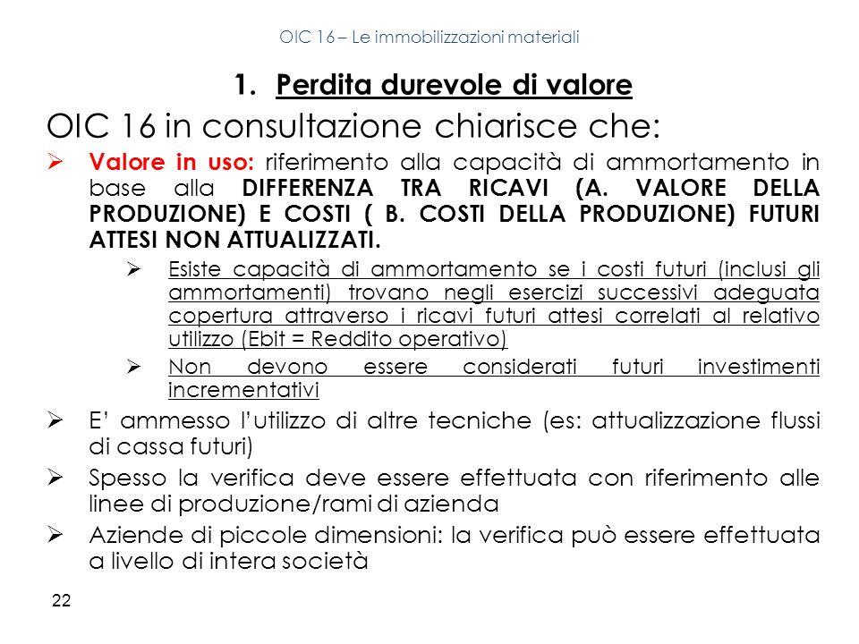 22 1.Perdita durevole di valore OIC 16 in consultazione chiarisce che: Valore in uso: riferimento alla capacità di ammortamento in base alla DIFFERENZ