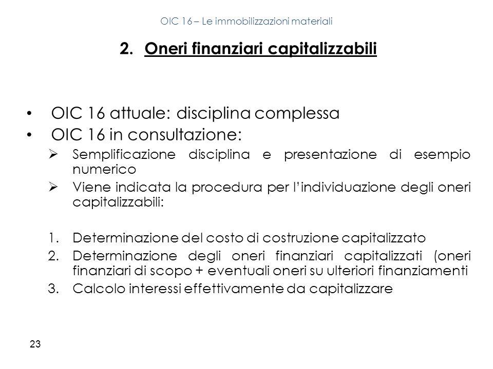 23 2.Oneri finanziari capitalizzabili OIC 16 attuale: disciplina complessa OIC 16 in consultazione: Semplificazione disciplina e presentazione di esem