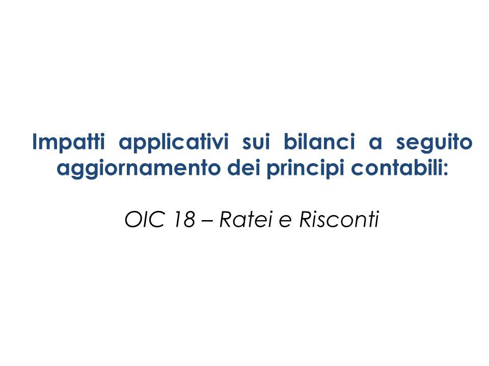 Impatti applicativi sui bilanci a seguito aggiornamento dei principi contabili: OIC 18 – Ratei e Risconti