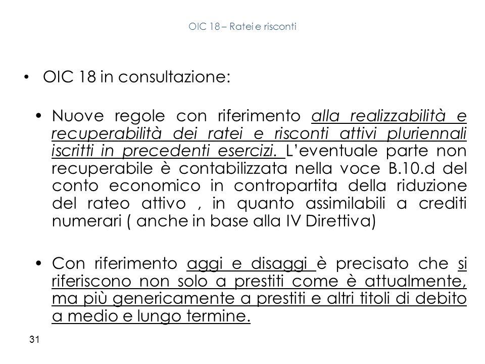 31 OIC 18 in consultazione: Nuove regole con riferimento alla realizzabilità e recuperabilità dei ratei e risconti attivi pluriennali iscritti in prec