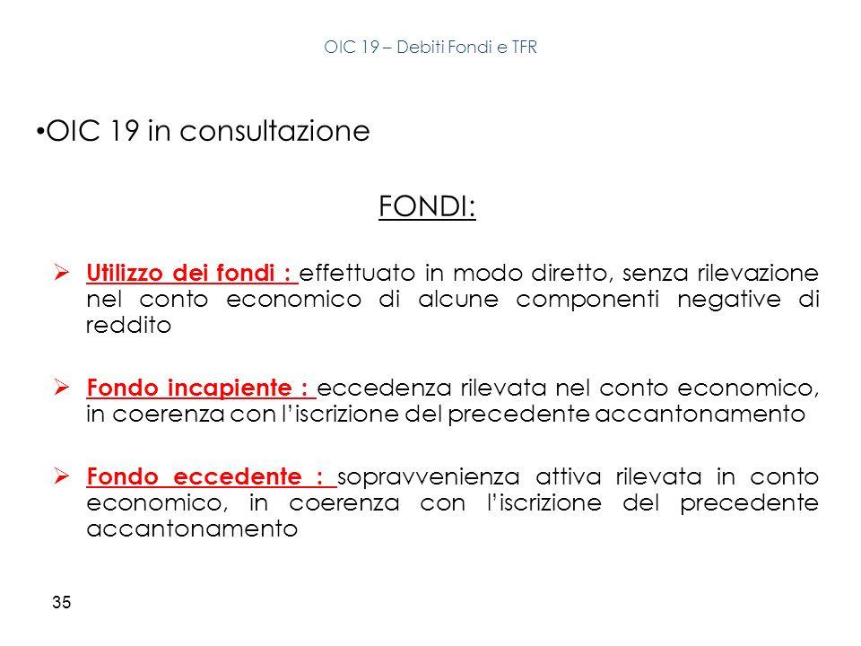 35 OIC 19 in consultazione FONDI: Utilizzo dei fondi : effettuato in modo diretto, senza rilevazione nel conto economico di alcune componenti negative