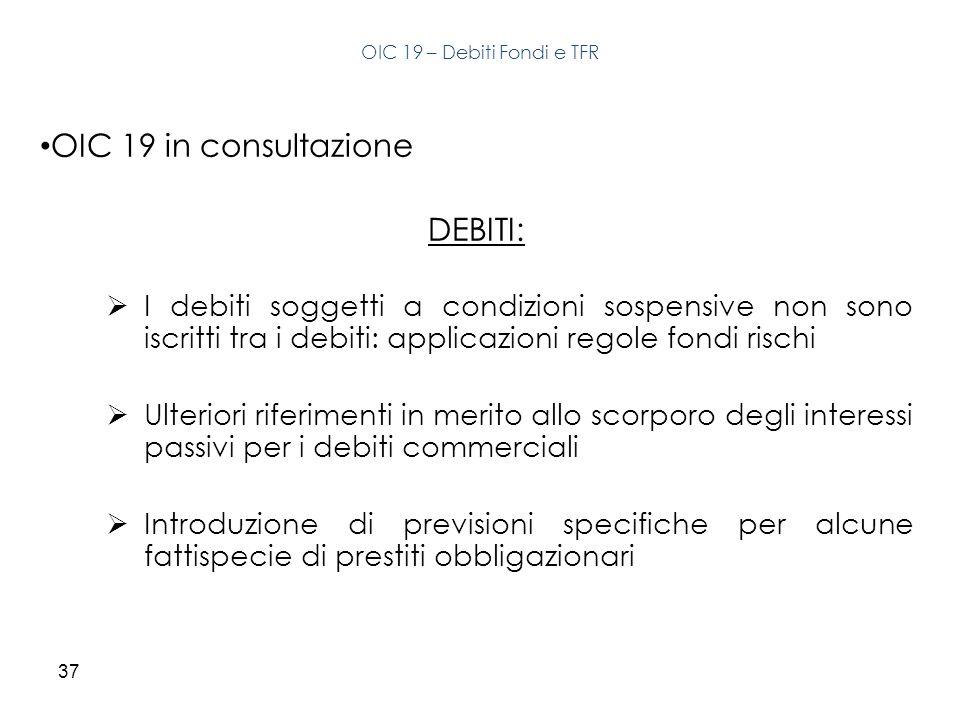 37 OIC 19 in consultazione DEBITI: I debiti soggetti a condizioni sospensive non sono iscritti tra i debiti: applicazioni regole fondi rischi Ulterior