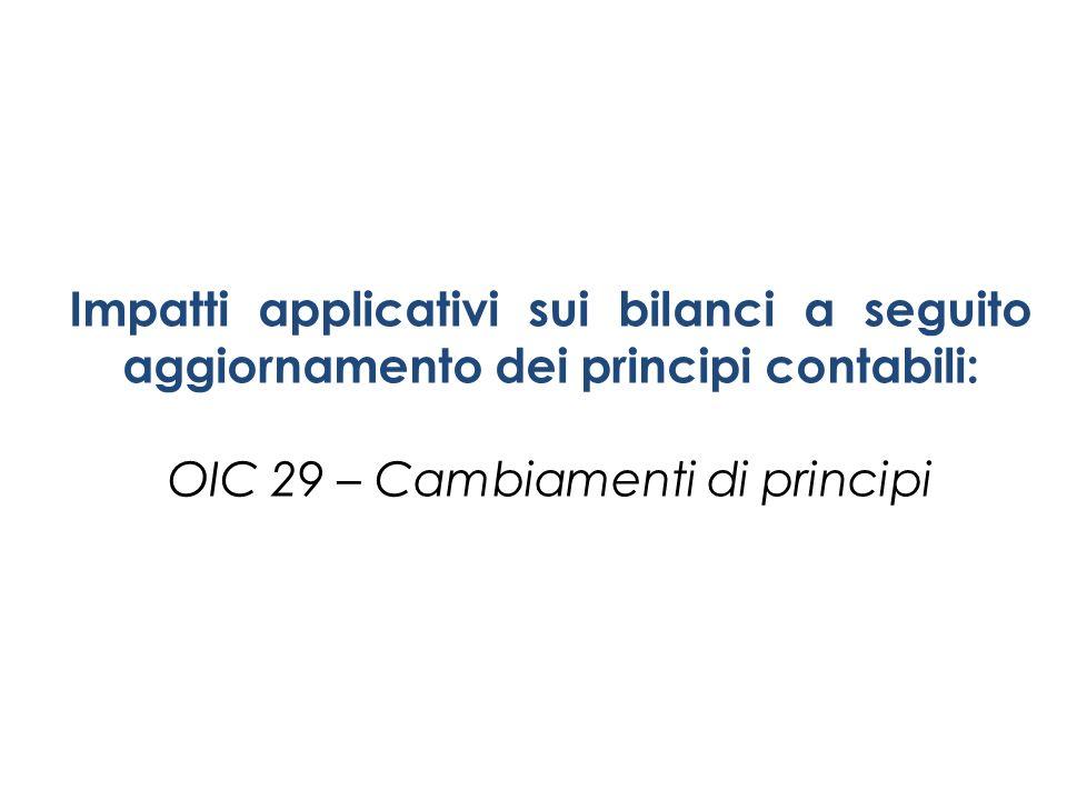 Impatti applicativi sui bilanci a seguito aggiornamento dei principi contabili: OIC 29 – Cambiamenti di principi