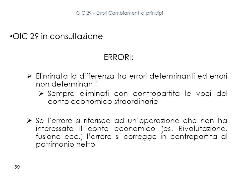 39 OIC 29 in consultazione ERRORI: Eliminata la differenza tra errori determinanti ed errori non determinanti Sempre eliminati con contropartita le vo