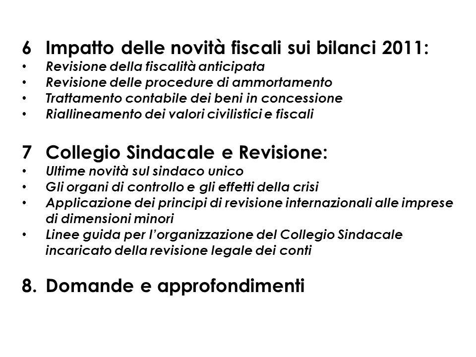 6Impatto delle novità fiscali sui bilanci 2011: Revisione della fiscalità anticipata Revisione delle procedure di ammortamento Trattamento contabile d