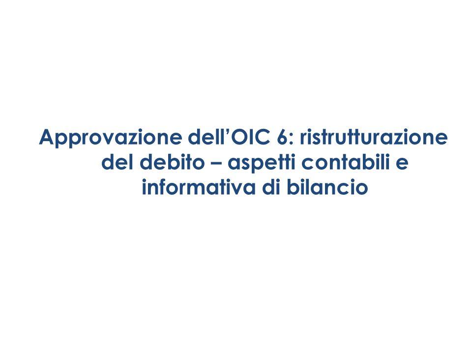 Approvazione dellOIC 6: ristrutturazione del debito – aspetti contabili e informativa di bilancio