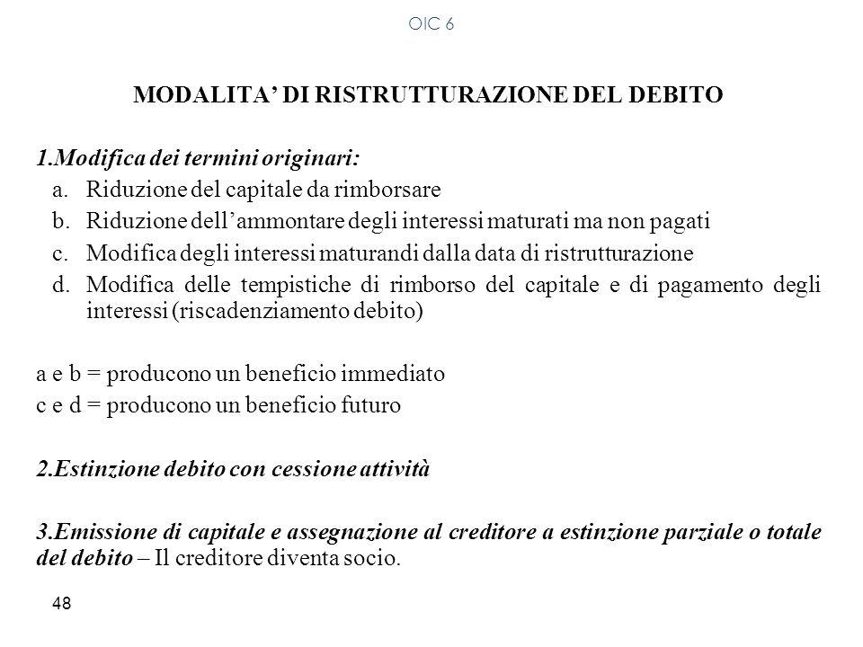 48 MODALITA DI RISTRUTTURAZIONE DEL DEBITO 1.Modifica dei termini originari: a.Riduzione del capitale da rimborsare b.Riduzione dellammontare degli in
