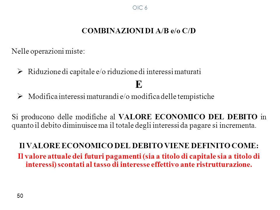 50 COMBINAZIONI DI A/B e/o C/D Nelle operazioni miste: Riduzione di capitale e/o riduzione di interessi maturati E Modifica interessi maturandi e/o mo