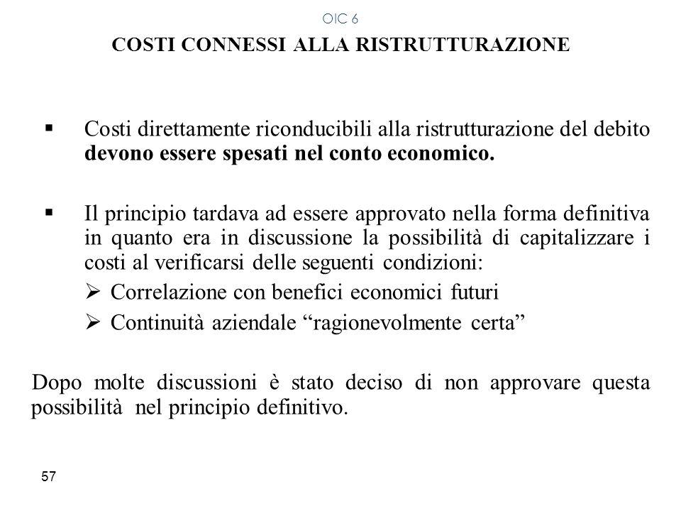57 COSTI CONNESSI ALLA RISTRUTTURAZIONE Costi direttamente riconducibili alla ristrutturazione del debito devono essere spesati nel conto economico. I