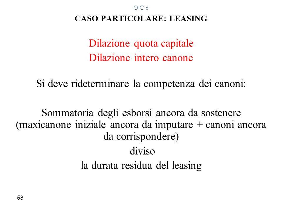 58 CASO PARTICOLARE: LEASING Dilazione quota capitale Dilazione intero canone Si deve rideterminare la competenza dei canoni: Sommatoria degli esborsi