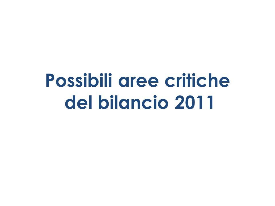 Possibili aree critiche del bilancio 2011