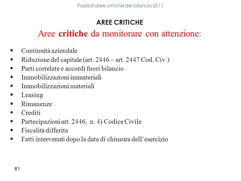61 AREE CRITICHE Aree critiche da monitorare con attenzione: Continuità aziendale Riduzione del capitale (art. 2446 – art. 2447 Cod. Civ.) Parti corre