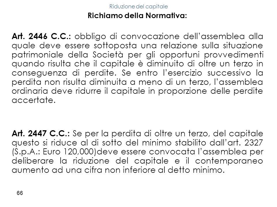 66 Richiamo della Normativa: Art. 2446 C.C.: obbligo di convocazione dellassemblea alla quale deve essere sottoposta una relazione sulla situazione pa