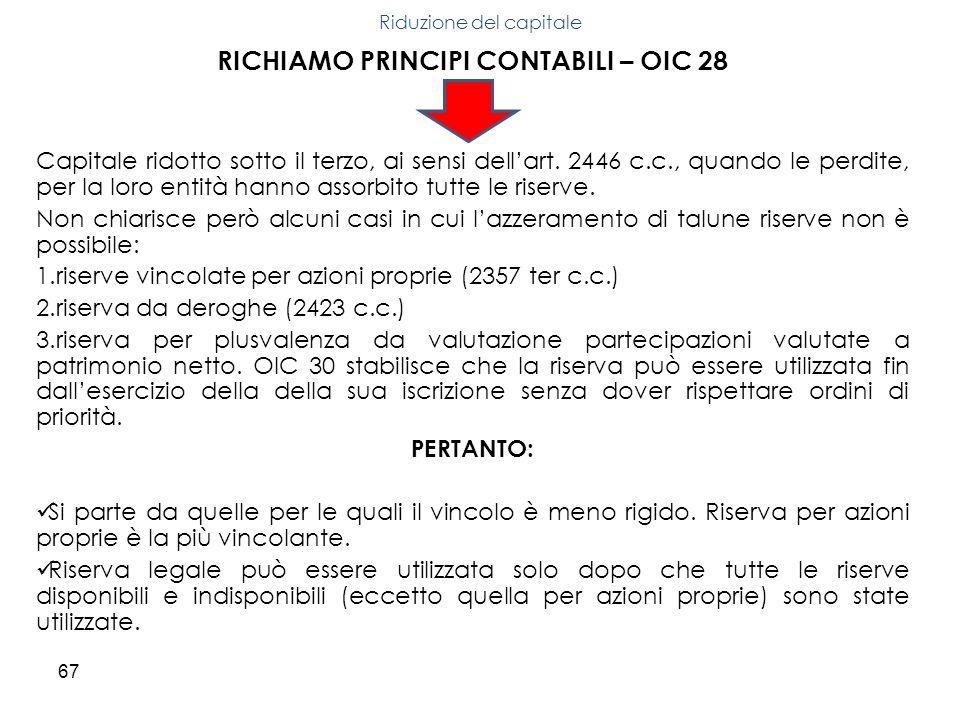 67 RICHIAMO PRINCIPI CONTABILI – OIC 28 Capitale ridotto sotto il terzo, ai sensi dellart. 2446 c.c., quando le perdite, per la loro entità hanno asso