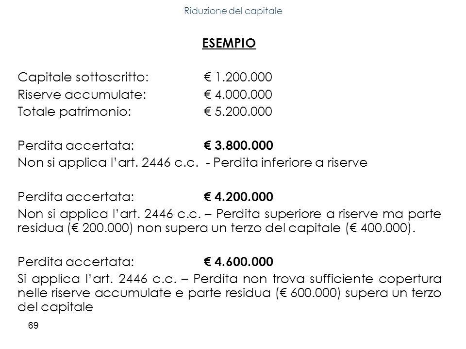 69 ESEMPIO Capitale sottoscritto: 1.200.000 Riserve accumulate: 4.000.000 Totale patrimonio: 5.200.000 Perdita accertata: 3.800.000 Non si applica lar