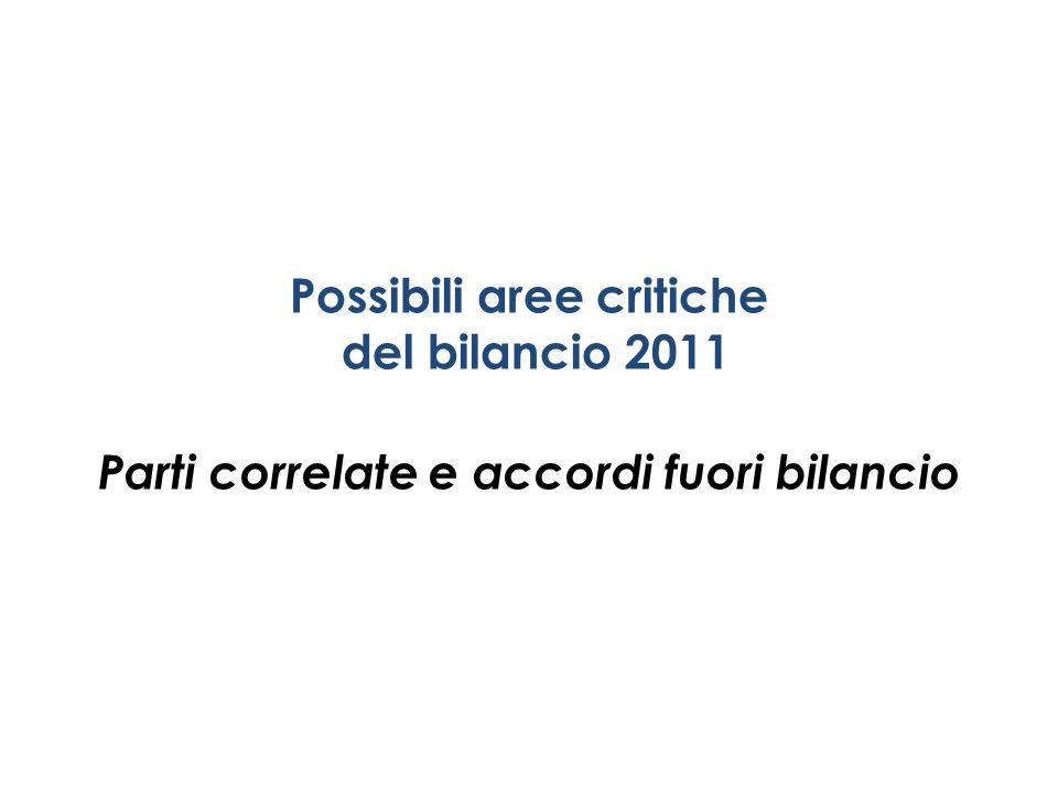Possibili aree critiche del bilancio 2011 Parti correlate e accordi fuori bilancio
