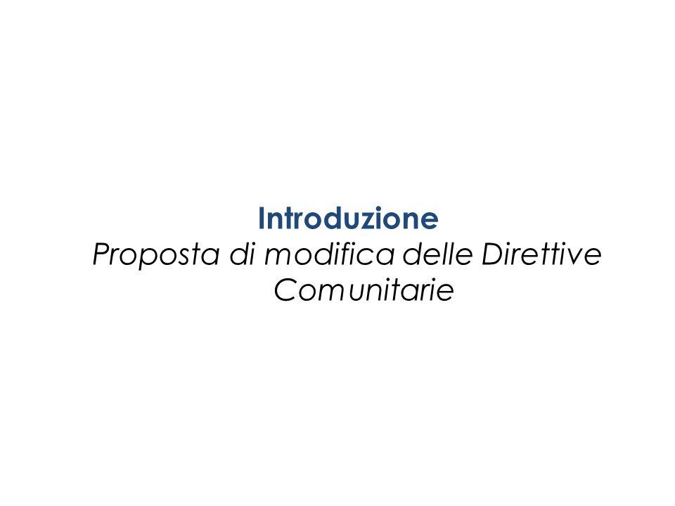Introduzione Proposta di modifica delle Direttive Comunitarie