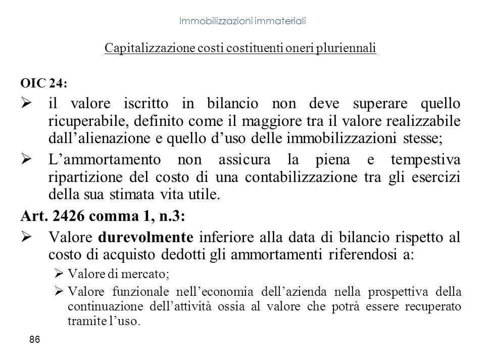 86 Capitalizzazione costi costituenti oneri pluriennali OIC 24: il valore iscritto in bilancio non deve superare quello ricuperabile, definito come il