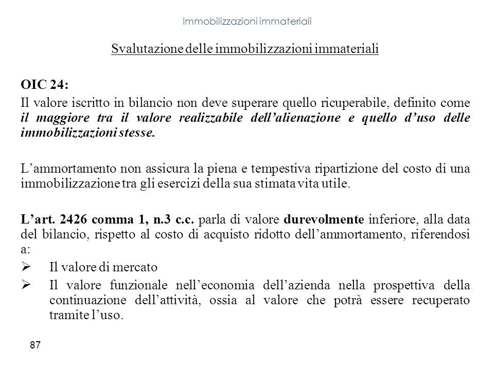 87 Svalutazione delle immobilizzazioni immateriali OIC 24: Il valore iscritto in bilancio non deve superare quello ricuperabile, definito come il magg
