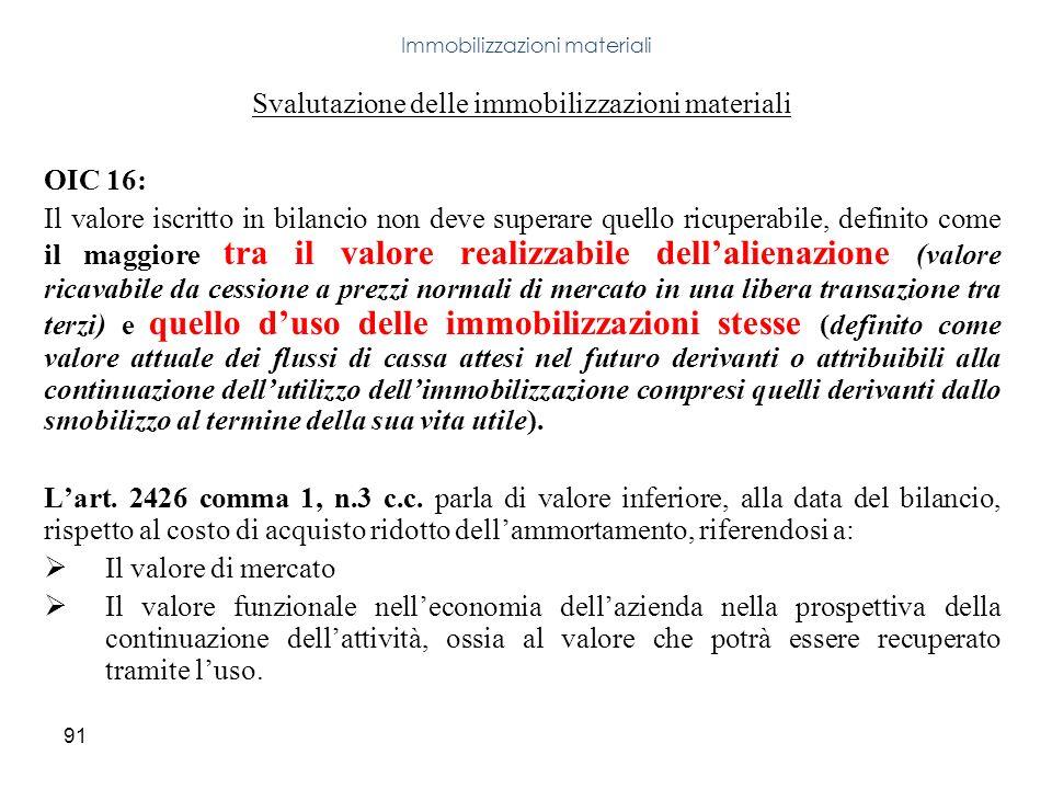 91 Svalutazione delle immobilizzazioni materiali OIC 16: Il valore iscritto in bilancio non deve superare quello ricuperabile, definito come il maggio