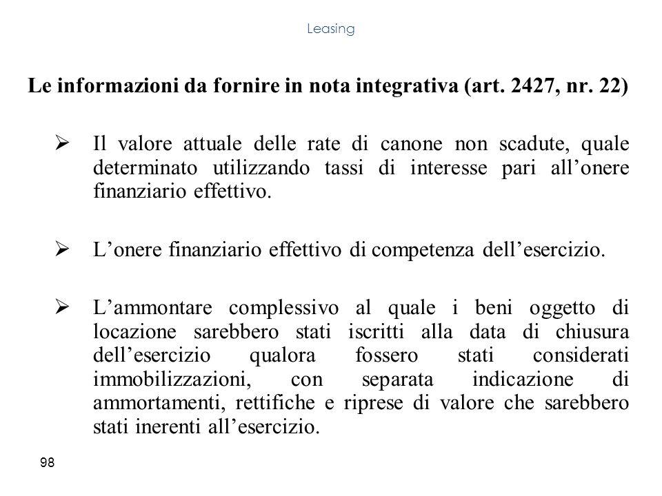 98 Le informazioni da fornire in nota integrativa (art. 2427, nr. 22) Il valore attuale delle rate di canone non scadute, quale determinato utilizzand