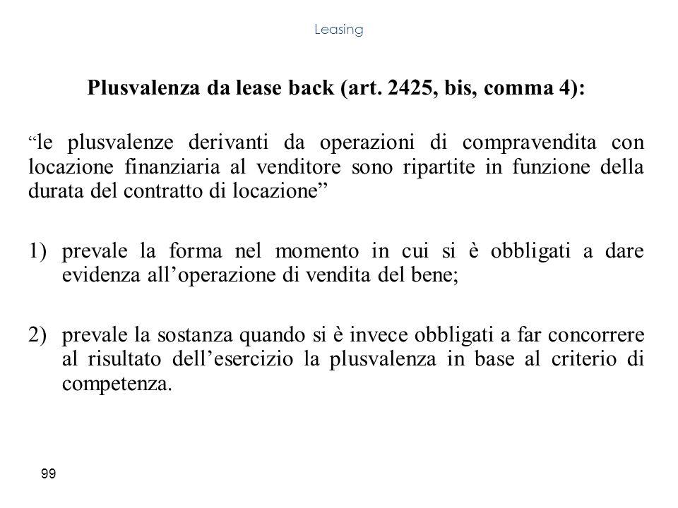 99 Plusvalenza da lease back (art. 2425, bis, comma 4): le plusvalenze derivanti da operazioni di compravendita con locazione finanziaria al venditore
