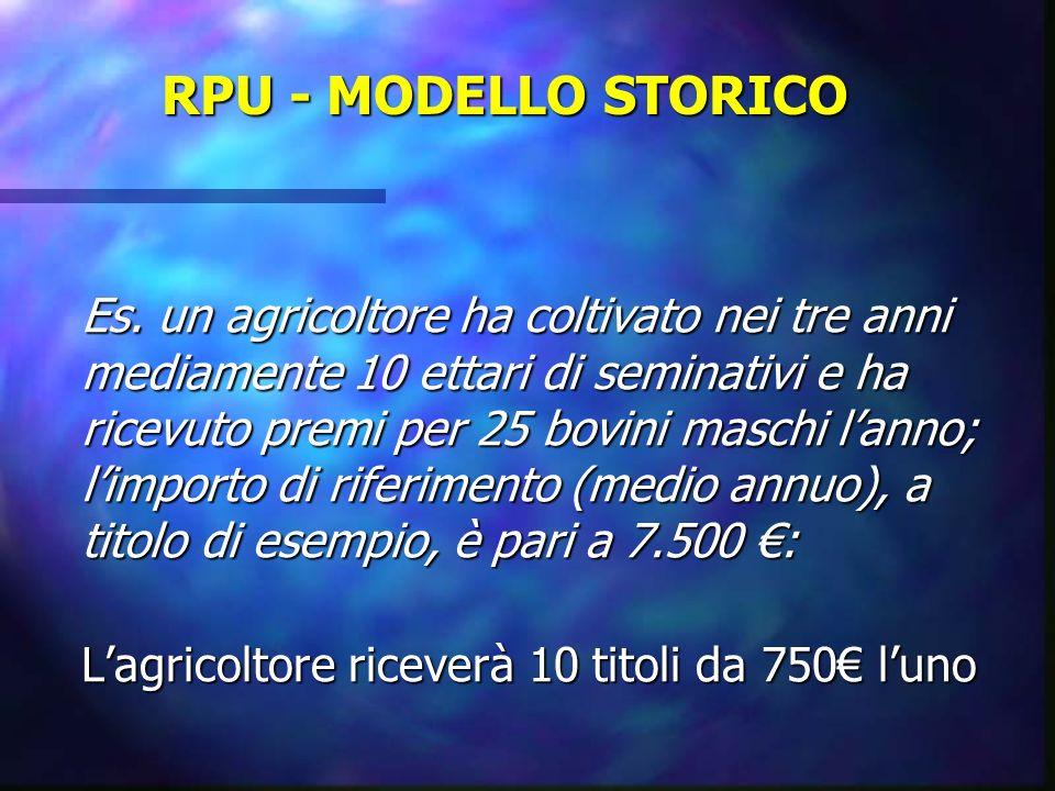 RPU - MODELLO STORICO Es. un agricoltore ha coltivato nei tre anni mediamente 10 ettari di seminativi e ha ricevuto premi per 25 bovini maschi lanno;