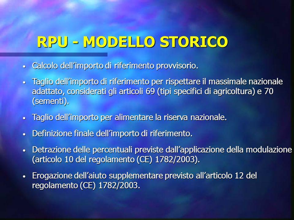 RPU - MODELLO STORICO Calcolo dellimporto di riferimento provvisorio. Calcolo dellimporto di riferimento provvisorio. Taglio dellimporto di riferiment