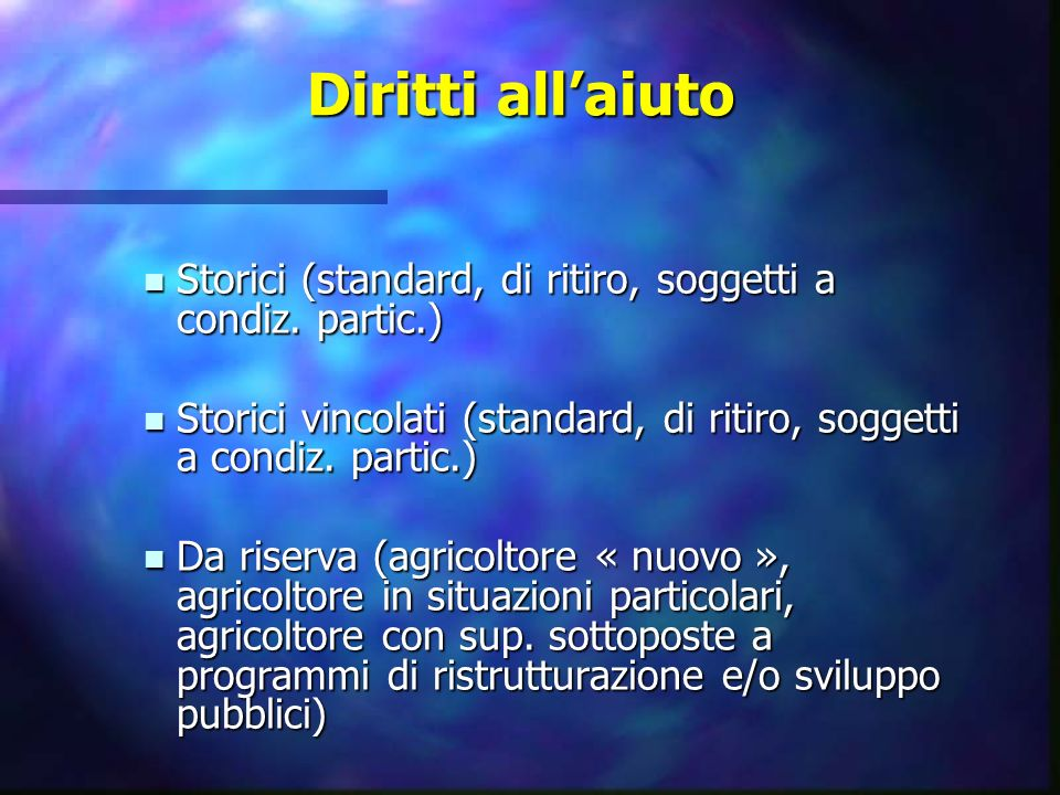 Diritti allaiuto Storici (standard, di ritiro, soggetti a condiz. partic.) Storici (standard, di ritiro, soggetti a condiz. partic.) Storici vincolati