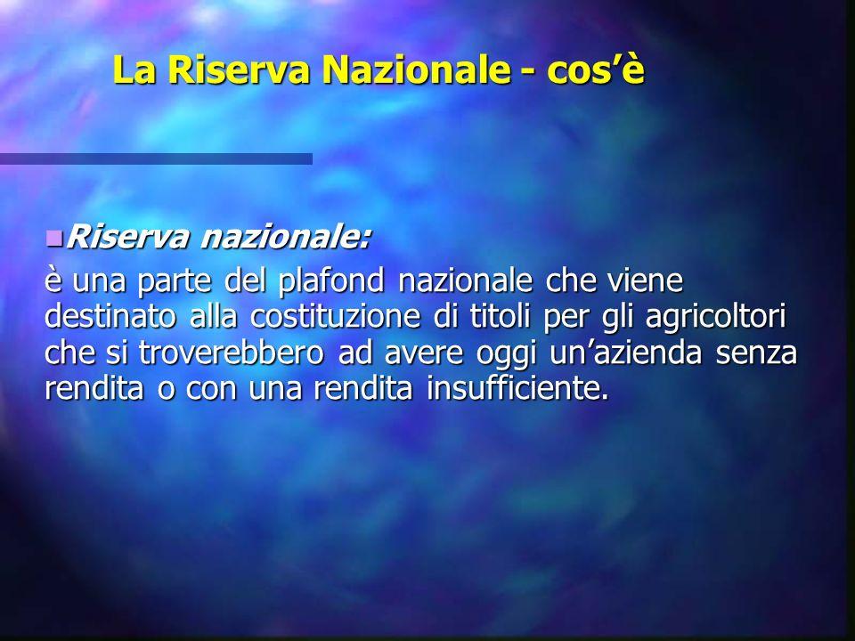 La Riserva Nazionale - cosè Riserva nazionale: Riserva nazionale: è una parte del plafond nazionale che viene destinato alla costituzione di titoli pe
